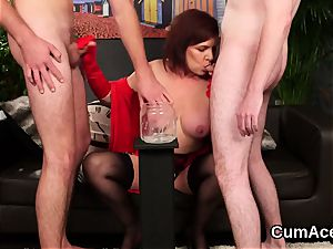 naughty looker gets cum stream on her face inhaling all the jizz