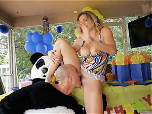 suspended boy in panda costume romps milf Cory chase
