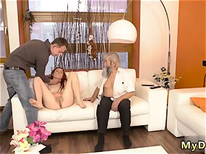 Real orgy elder fellow and while parent sleeps first-ever time sudden experience with an older