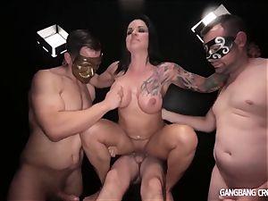 trio gals 15 strangers in masks gang-fuck internal cumshot