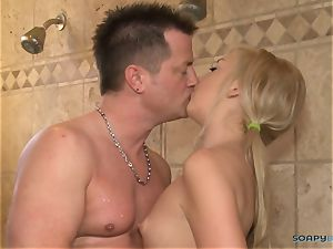 ash-blonde doll gives unbelievable massage with oral job