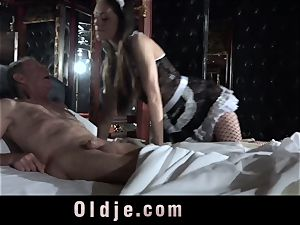 Step parent Caught pummeling The Maid