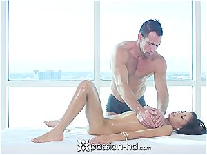 Passion-HD - huge-chested Shay Evans porks hard-on during rubdown