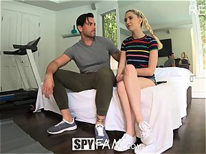 SPYFAM super-naughty step daughter tastes massive fuckpole step daddy