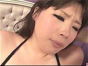 massive boobed and pretty asian got her moist slit finger