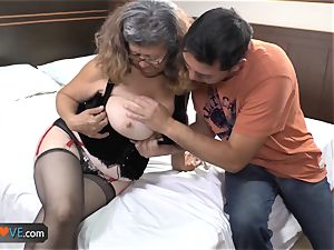 AgedLovE Latina plump grannie drilling lad