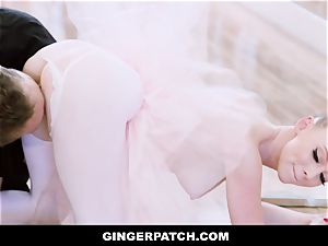 GingerPatch - redhead Ballerina railing Judges huge stiffy