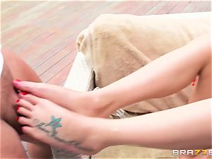 big-titted rich damsel Jessica Jaymes exploits her enslaved and takes his enormous dick