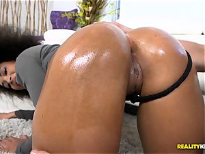 sizzling ebony arse well-lubed up and plumbed ball-sac deep - Ava Sanchez