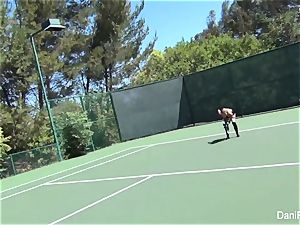 without bra tennis with Dani Daniels and Cherie DeVille