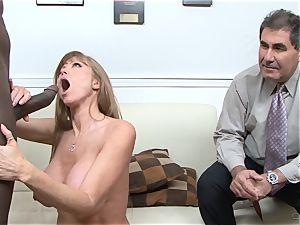 Darla Crane bangs dark-hued boner before her hubby cleans up